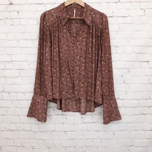 Free People Modern Muse Button Front Blouse Small